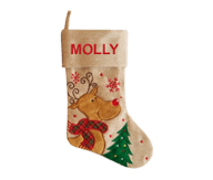 Modern Reindeer Christmas Stocking